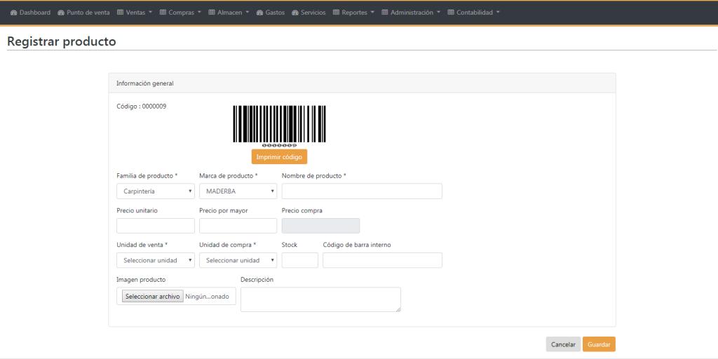 registrar productos